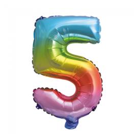 5 Folieballon cijfer, regenboog, 41 cm