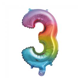 3 Folieballon cijfer, regenboog, 41 cm