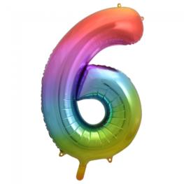 6 Folieballon cijfer, regenboog, 86 cm