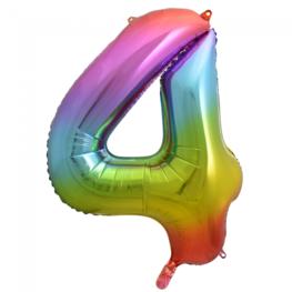 4 Folieballon cijfer, regenboog, 86 cm