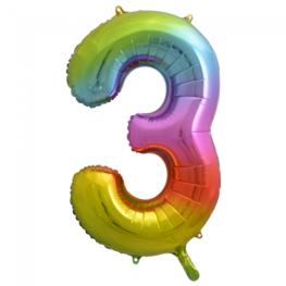 3 Folieballon cijfer, regenboog, 86 cm