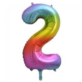 2 Folieballon cijfer, regenboog, 86 cm