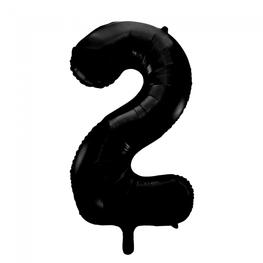 2 Folieballon cijfer, zwart, 86 cm