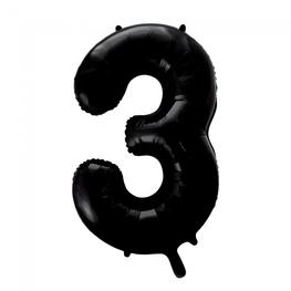 3 Folieballon cijfer, zwart, 86 cm