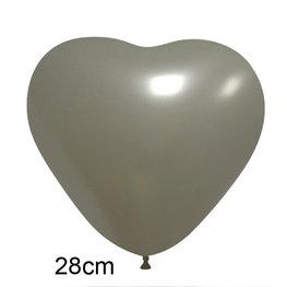 Zilver Hart Ballon (28cm)