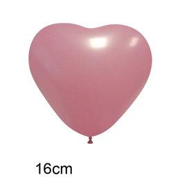 Roze Hart Ballon  klein (16cm)