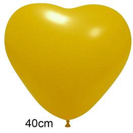 Geel Hart Ballon groot (40 cm)