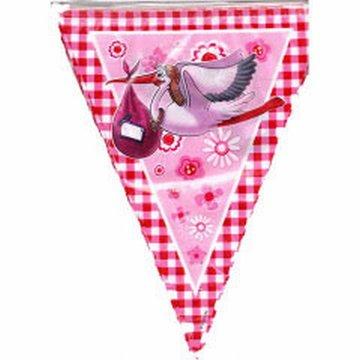 Vlaggenlijn geboorte meisje roze ooievaar 10 meter plastic