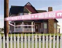 Afzetlint Hoera een meisje roze 15 meter
