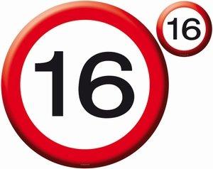 16 jaar, Verkeersbord Placemats+ onderzetters, 4 st.