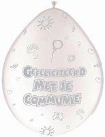 Ballonnen Gefeliciteerd met je Communie, Wit, 8 stuks