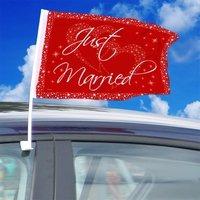 Autovlag rood 'Just married', 2 stuks
