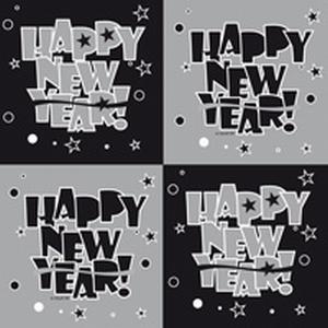 Servet Happy New Year, 25x25 cm, 20 stuks
