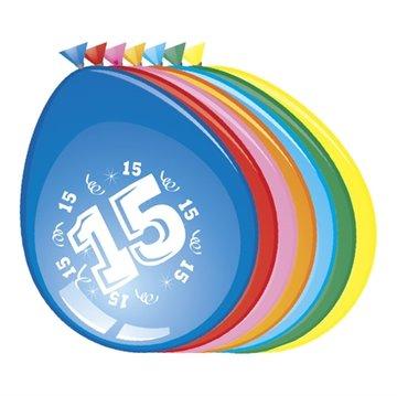 15 jaar, ballonnen, 8 stuks