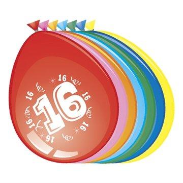 16 jaar, Ballonnen, 8 stuks, assorti