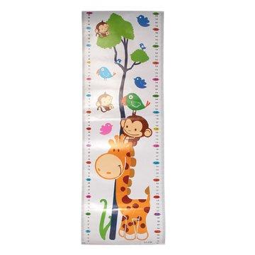 Groeimeter sticker Giraffe, aap, vogel