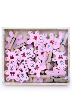 Naturel met roze beertje Wasknijpertjes mini, 19 stuks