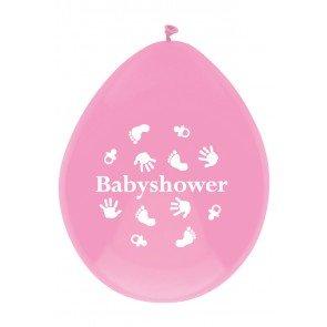 Babyshower Ballonnen roze, 6 stuks