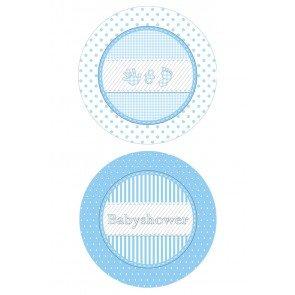 Babyshower Bordjes blauw, 8 stuks