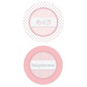 Babyshower Bordjes roze, 8 stuks