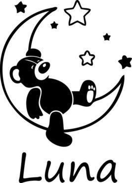 Raamsticker beer op maan met sterren