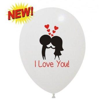 Ballon I love you opdruk wit 30 cm, 10 stuks