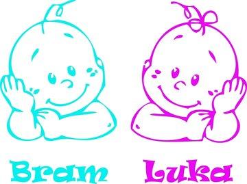 Raamsticker baby gezichtjes jongen en meisje