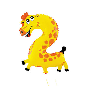 2 Zooloon folieballon Giraffe, ca. 35 cm