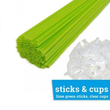 Ballonstaafje / Ballonstokje lime groen incl. transparant cupje, 38cm