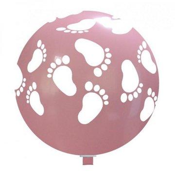 Ballon roze met witte baby voetjes, 75cm