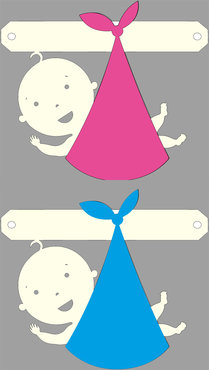 Baby in doek (roze of blauw) tussenstukje