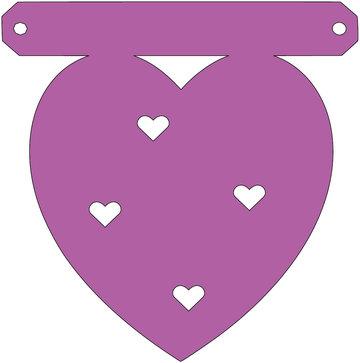 Hart met uitgesneden hartjes tussenstukje
