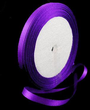 Paars Satijn lint, 6mm, rol 23 m
