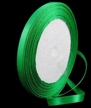 Groen Satijn lint, 6mm, rol 23 m