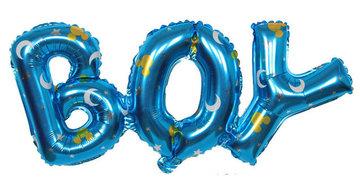 BOY folieballon met maan en sterren print, ca. 90x35 cm
