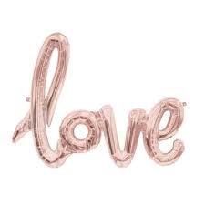 Folieballon 'love', rosé goud