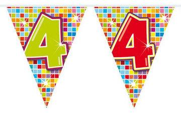 4 jaar, Vlaggenlijn Birthday Blocks, 6 meter