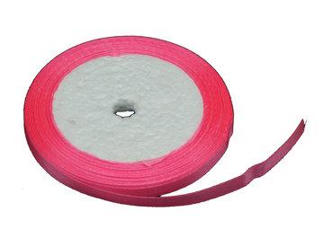 Roze:fel roze Satijn lint, 6mm, rol 23 m