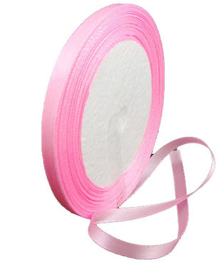 Roze:lichtroze Satijn lint, 6mm, rol 23 m