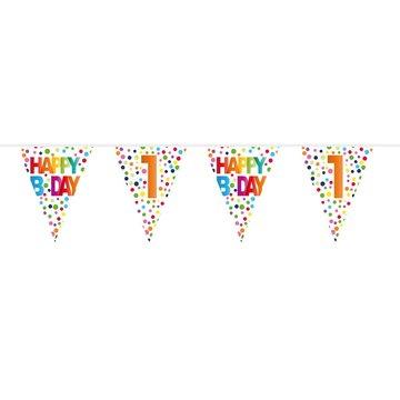 1 jaar, Vlaggenlijn Stippen Happy Bday, 10 meter