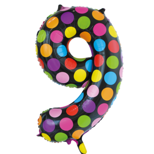 folie cijfer 9 Dots 86 cm