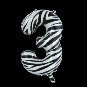 folie cijfer 3 zebra 86cm