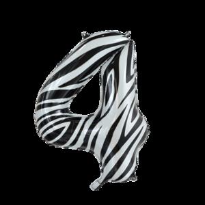 folie cijfer 4 zebra 86cm