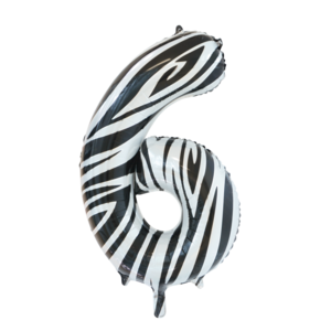 folie cijfer 6 zebra 86cm
