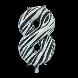 folie cijfer 8 zebra 86cm
