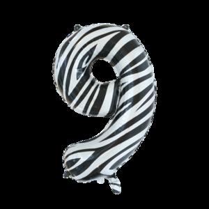 folie cijfer 9 zebra 86cm