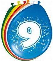 9 jaar, ballonnen, 8 stuks