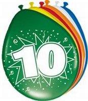 10 jaar, ballonnen, 8 stuks