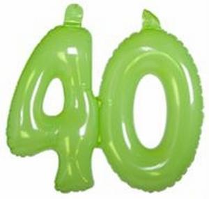 40 jaar, Opblaascijfer Transparant Lime Groen