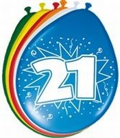 21 jaar, Ballonnen, 8 stuks, assorti